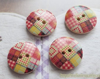 Wooden Buttons, Painted Color - Lovely Colorful Sewing Check Gingham Patchwork (4 in a set)