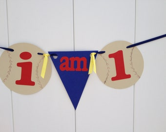 I'm 1 Baseball Party Banner First Birthday - Ivory Baseball and Blue