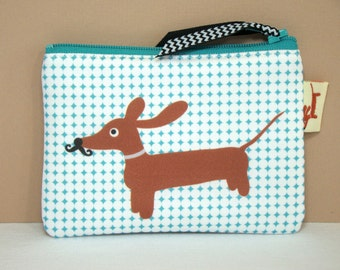 Dachshund Dog Coin Purse - Doxie in Mustache Disguise - Modern Dog Accessory Trendy Gift Turquoise White