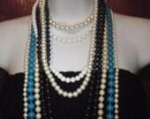 Vintage Necklace Black Blue White Lot of Nine Women Necklaces
