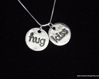 Hugs and Kisses necklace, hugs and kisses charm, I love you necklace, anniversary gift, Gifts for her