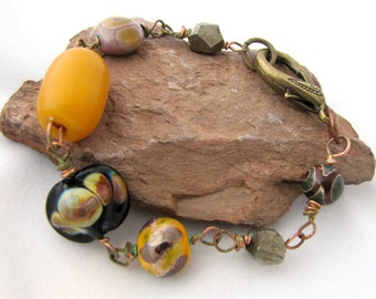 Honey and Earth - Boho Tribal Assemblage Bracelet in Amber, Earthy Browns, Lavender, Agate, Black Lampwork, Iron Pyrite, Copper Wirework