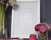 Laser Cut Quote - Impossible Things
