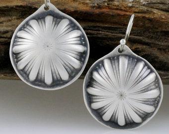 Sterling Silver Flower Earrings, Eco Friendly Earrings