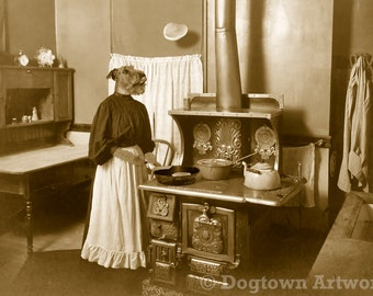 Granny's Flapjacks, large original photograph of an Airedale Terrier dressed as Granny, making pancakes