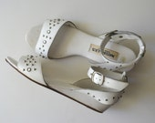1980's Studded White Sandals with Ankle Strap / size 9