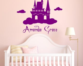 Castle, Princess, Personalized Name Vinyl Wall Decal, Fairytale, Storybook, Happily Ever After