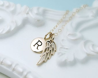 Personalized Gold Wing Necklace, 14k gold filled, remembrance jewelry, dainty angel wing necklace, initial