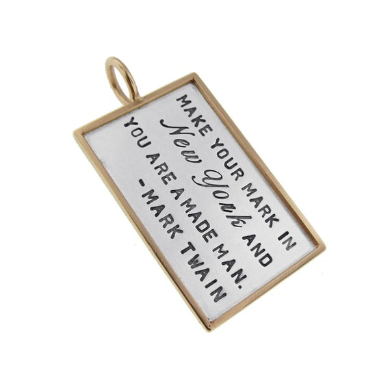 Silver and Gold Rimmed Pendant Hand Stamped Motivational Phrase Custom Inspirational Jewelry Personalized Favorite Location Engraved Unisex