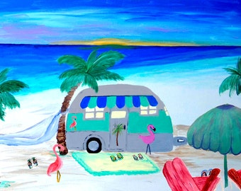 Airstream Camper Pillow Case from my original art