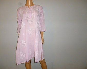 """Vintage 1960's - Embellished - Baby Pink - Floral - Embroidered - Boho - Hippie Chic - Cotton - Tunic - Dress - 40"""" bust"""