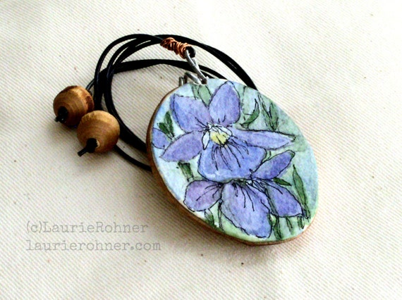 Wood painted necklace