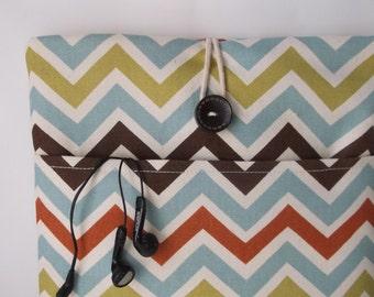 Chevron Macbook Air Case, 13 Laptop Sleeve Cord Pocket, Mac Book Pro 13 .3 inch Retina Screen Padded Cover, Bag, Cover Henna Aqua Blue Green