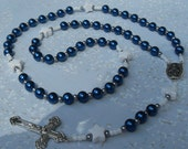 Rosary Dallas Cowboys Rosary New Design Blue Czech Glass Pearls Silver Spacers White Star Pater Beads Necklace