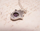 Purple  Hamsa Necklace. Silver Finish. Happiness. Luck. Health. Good Fortune