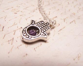 Purple  Hamsa Necklace. Silver Finish. Happiness. Luck. Health. Good Fortune