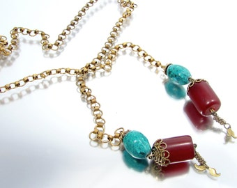 Vintage CHERRY AMBER SAUTOIR Necklace Turquoise Stone Filigree Findings Chain
