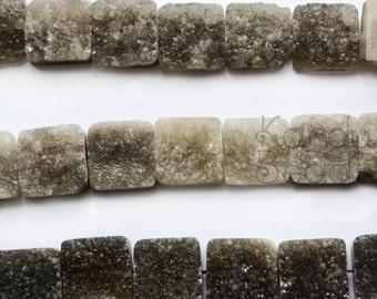 Smoky Quartz DRUZY Square focal Beads, smoky quartz cabochon, 20mm Center Drilled - Choose quantity