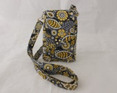 Cell phone purse - yellow and grey small crossbody bag - cell phone pouch - small sling - cell phone bag for iphone 6 plus  MADE to ORDER