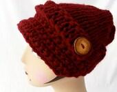 Merlot Button Brim Hat
