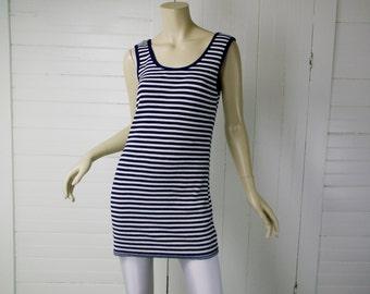 60s Mod Mini Dress in Nautical Stripes / Navy Blue & White- 1960s Twiggy Knit Tank Dress- Small- Sailor- Minimal