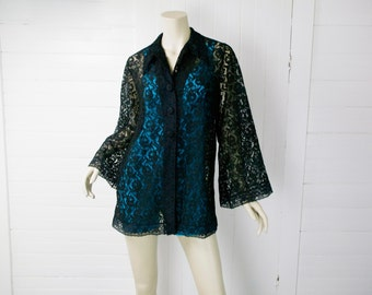 70s Gothic Gypsy Black Lace Blouse / Bell Sleeves & Pointed Collar / Sheer Tunic / 1970s / Small - Boho Hippie Festival Stevie Nicks