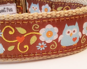 Forest Owl - Dog Collar / Pet Accessories / Handmade / Adjustable