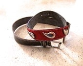 Country Western Belt Southwest I Magnin Stitched Brown Leather Cowhide Red Suede Fashion Belt 28 to 34