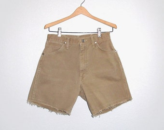 Vintage Wrangler Zip Fly Shorts High Waist Jeans Khaki Denim W 26 27 cut-off shorts