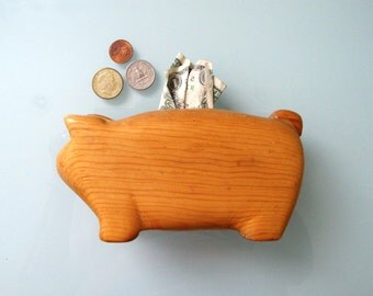 Carved Wood Pig Bank, vintage Minimalistic Piggy Wooden