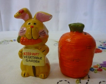 Vintage Bunny and Carrot Salt and Pepper Shakers