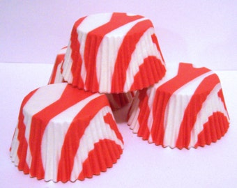Orange and White Zebra Stripe Cupcake Liners- Choose Set of 50 or 100
