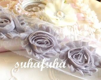 1/2 yd GRAY Shabby Chiffon Frayed Rose Flower Trim for DIY Headbands, garters, Scrapbooking 7 Flowers