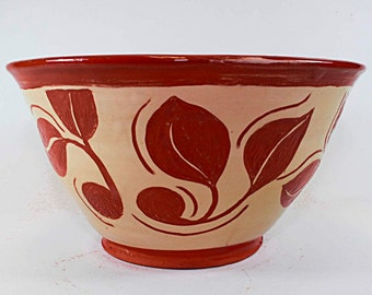 Handmade pottery bowl, Tan and Brown Bowl, Leaf Design, Carved Relief Pattern, ceramic SKU149-4