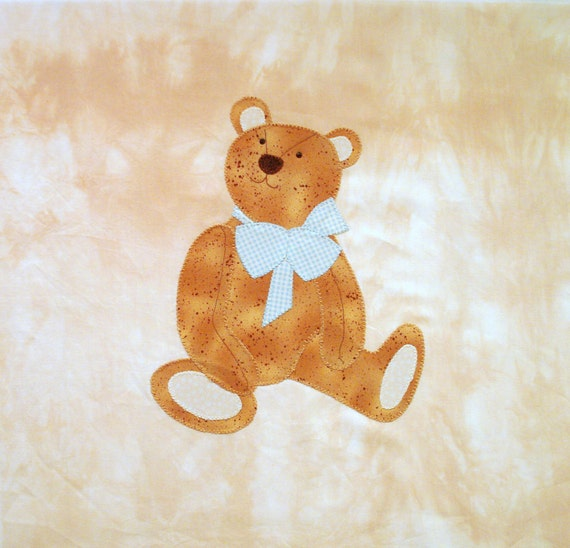 Teddy Bear Boy Appliqued Quilt Block