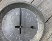 Vintage Kalt's Pies Tin Clock- Kitchen Wall Clock- Unique Clock- Wall Clock
