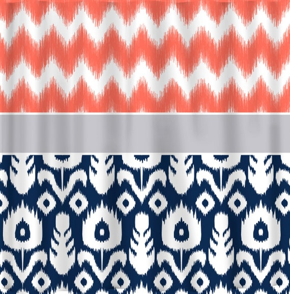 Coral Ikat Chevron With Navy Ikat Silver Grey Accent Shower