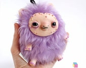 Cute plushy Kawaii yeti creature soft sculpture - furry  purple fur, salmon skin - Kriture no.105