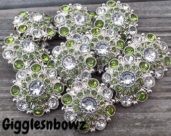 RHiNeSToNe BuTToNS- Set of 10 CRYSTaL CLeaR CeNTER w LiME GReeN/CLeaR Rhinestone Buttons Flower Centers Headband Supplies 27mm