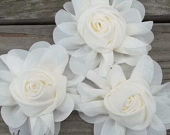 New to Shop- 3 Inch Chiffon Rolled Rose with Ruffles- Ivory, Set of Three