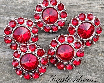 Brand New Set of FIVE Acrylic Rhinestone Buttons NEW Size-18MM ReD