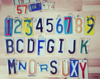 UPcycled license plate keychains. letters and numbers