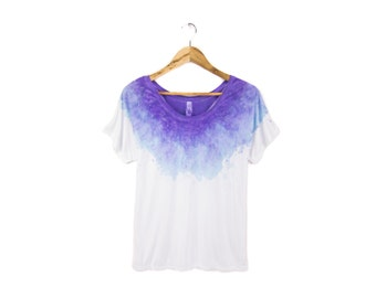 "New Galaxy Purple Tee - Original ""Splash Dyed"" Hand Painted Relaxed Fit Flowy Scoop Neck T-shirt in White - Women's Size S-2XL Q"