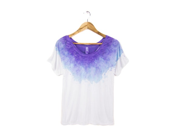 "The Original ""Splash Dyed"" Hand PAINTED Relaxed Fit Flowy Scoop Neck Tee in Spectrum New Galaxy Purple - Women's S M L XL 2XL Q"
