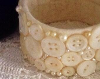Vintage Pearl Button Bangle Bracelet