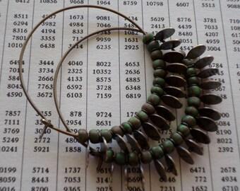 Titanium Hoop Earrings, Rustic Primitive Ethnic Green Rust Brown Czech Glass Tribal Bohemian Beaded Gypsy Hoops, Handmade Hoop Earrings