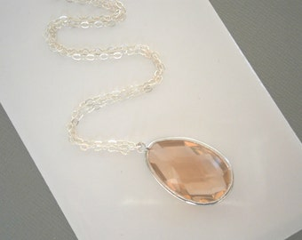 Blush Champagne Necklace, Long Pendant Necklace, Silver Necklace, Best Friend Birthday,