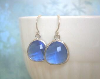 Cobalt Earrings, Blue Earrings, Silver Earrings