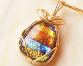 Handmade Dichroic Gold Wire Wrap Fused Glass Pendant Necklace