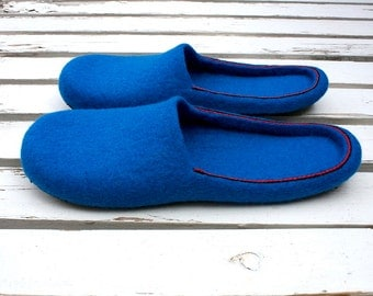 To Be / Felted wool slippers blue blue Handmade to Order